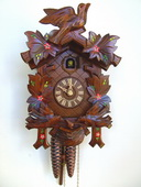 Authentic German Schonach 17in Birds & Leaves 1 Day Traditional Black Forest Cuckoo Clock - NSC3620