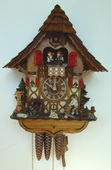 Authentic German Schonach 19in Wood Chopper 1 Day Musical Black Forest Cuckoo Clock - NSC3227