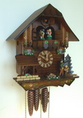 Authentic German Schonach 17in Wood Chopper 1 Day Musical Chalet Black Forest Cuckoo Clock - NSC3353