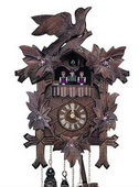 Authentic German Schonach 18in Birds & Leaves 1 Day Musical Black Forest Cuckoo Clock - NSC3530