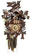 Authentic German Schonach 18in Birds & Leaves 1 Day Musical Black Forest Cuckoo Clock - NSC3554