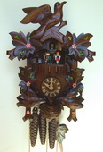 Authentic German Schonach 18in Birds & Leaves 1 Day Musical Black Forest Cuckoo Clock - NSC3428