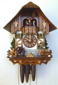Authentic German Schonach 18in Wood Chopper & Children 1 Day Musical Black Forest Cuckoo Clock
