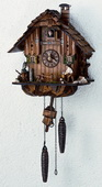 Authentic German Schonach 18in Wood Chopper & Owl Quartz Chalet Black Forest Cuckoo Clock - NSC3368