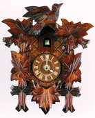 9.1in Birds & Leaves without Cuckoo Call Quartz German Black Forest Cuckoo Clock - NSC3701