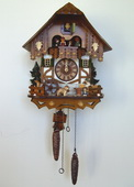 Authentic German Schonach 18in Beer Drinker & Dog Musical Quartz Black Forest Cuckoo Clock - NSC3389