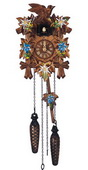 Authentic German Schonach 14in Birds & Leaves Quartz Black Forest Cuckoo Clock - NSC3689