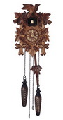 17in Birds & Leaves Quartz Traditional German Black Forest Clock by Schneider - NSC3683