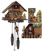 14in Cute Deer Dancing Figurines Musical Quartz German Black Forest Cuckoo Clock - NSC3587