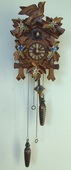 Authentic German Schonach 17in Birds & Leaves Edelweiss Flowers Quartz Black Forest Cuckoo Clock