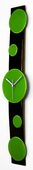 NVC Black Curved Glass Wall Clock with Green Dots - NVC6506