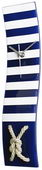 NVC Navy Blue and White Striped Nautical Wave Glass Clock with Knotted Rope - NVC6524