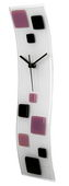 NVC Glazed Wave Glass Art Clock with Lavender & Black Squares - NVC6497