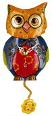 NVC Metal Multicolor Owl Clock with Flower Pendulum - NVC6482
