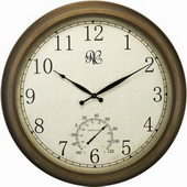 NVC 24in Brass Finish Bezel Indoor/Outdoor Wall Clock with Time & Temperature - NVC6383