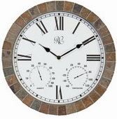 NVC Slate Mosaic 15in Tile Bezel In/Outdoor Wall Clock with Time Temp & Humidity - NVC6392