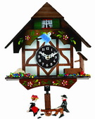 6in Painted Chalet with moving bird & well Novelty Clock - NVC6404