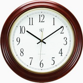 NVC Tarantino 16.5in Radio-Controlled Wall Clock Cherry finished - NVC6398