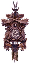 21in Hunters Cuckoo Clock with Hand-carved Oak Leaves with Bunny Bird and Crossed Rifles - NVC6257