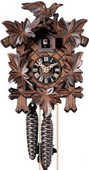 Authentic German Neustadt 13.5in Leaves & Bird 1 Day Mechanical Black Forest Cuckoo Clock - NYC1581