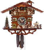 14.5in Moving Woodcutter 1 Day Chalet German Black Forest Cuckoo Clock - NYC1359