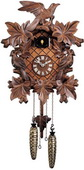 Authentic German Neustadt 19in Leaves & Birds Quartz Traditional Black Forest Cuckoo Clock - NYC1548