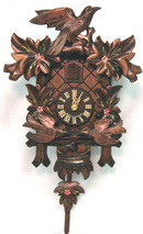 17.5in Leaves & Feeding Birds & Hand Painted Flowers German Black Forest Cuckoo Clock 1Day - NYC1467