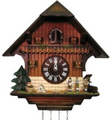 17in Music Bands German Black Forest Cuckoo Clock Quartz Chalet - NYC1494