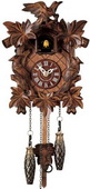 15in Leaves & Birds & Music German Black Forest Cuckoo Clock Musical Quartz Traditional - NYC1521