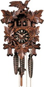 17in Leaves & Bird & Music German Black Forest Cuckoo Clock 1 Day Traditional Musical - NYC1416