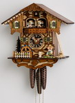 16in Kissing Lovers & moving water wheel German Black Forest Cuckoo Clock 1 Day Musical - NYC1209