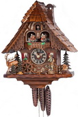 Authentic German Neustadt 19in Moving Hunter 1 Day Musical Black Forest Cuckoo Clock - NYC1188
