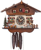 14.5in Moving Girl Feeding Her Cute Dog 1 Day Musical German Black Forest Cuckoo Clock - NYC1251