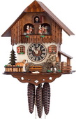 Authentic German Neustadt 17in Moving Hiker & Moving Dog 1 Day Musical Black Forest Cuckoo Clock