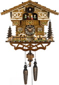 Moving Beer Drinkers Quartz German Black Cuckoo Clock - NYC1317