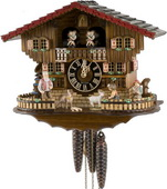 Authentic German Neustadt 15.5in Boy & Girls & Animals 1 Day Musical Black Forest Cuckoo Clock