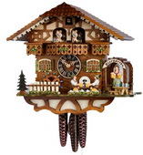 17in Beer Drinkers German Black Forest Cuckoo Clock 1 Day Musical - NYC1173
