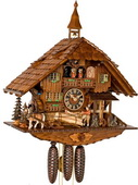 Authentic German Neustadt 28.5in Moving SawMill 8 Day Musical Black Forest Cuckoo Clock-NYC1041