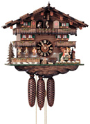 19in Moving Kissing Lovers & Moving Musicians German Black Forest Cuckoo Clock 8 Day Music - NYC1053