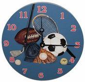PLS Amanda 10in Wall Clock, Little Athlete Round Clock - PLS5213