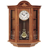 Seiko Bennington Chiming Oak Curio Cabinet Pendulum Wall Clock - GSK4478