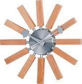 13.5in Natural Wood Spokes Clock - SKH3173