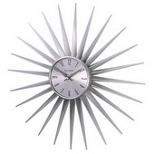 24in Silver Metal Sunburst Clock - SKH3056