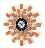 19.38in Wooden Sunburst Clock - SKH3119