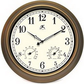 Eastbourne 18in Indoor/Outdoor Clock w/Thermo & Hygro Wall Clock - TFT5332