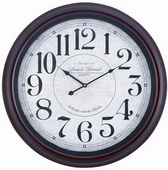 Aqup Pear 24.5in Mahogany Finish Wall Clock by TKC - TKC3285