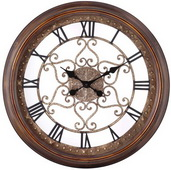 Aqua Pear 24.5in Distressed Copper Finish Wall Clock by TKC - TKC3276