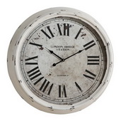 24in Distressed White Finish Wall Clock - TKC3306