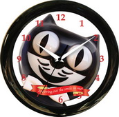 12in Round Smile Clock Kit Cat Clock  - UBK6160