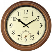 Cleveland 18in Atomic Wall Clock Antique Copper Metal w/ Thermometer Indoor/Outdoor - UCN5104